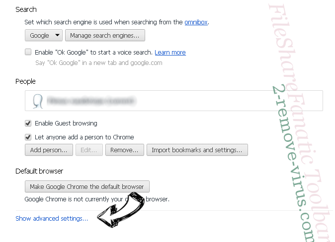 FileShareFanatic Toolbar Chrome settings more