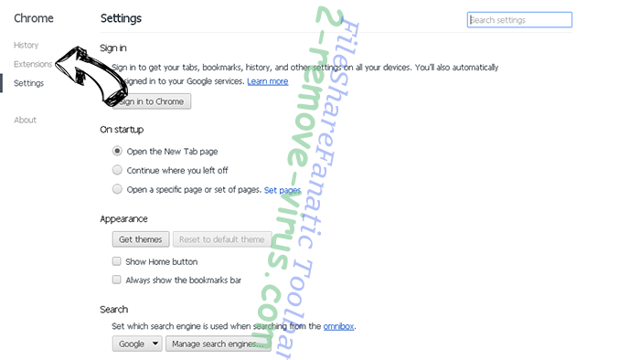 FileShareFanatic Toolbar Chrome settings