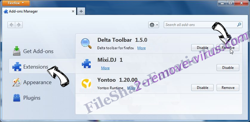 FileShareFanatic Toolbar verwijderen Firefox extensions