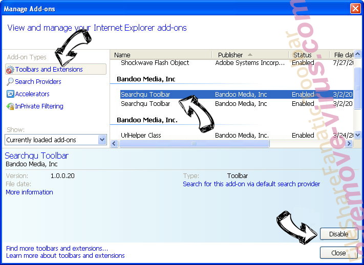 Status 77 ampxsearch IE toolbars and extensions