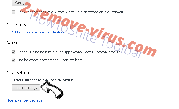 Rimuovere Baidu Toolbar Chrome advanced menu
