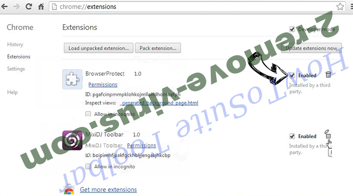 aMuleC Virus Chrome extensions disable