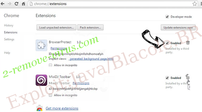 Удаление Exploit:Java/Blacole.BR Chrome extensions disable