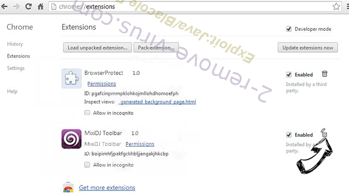 Удаление Exploit:Java/Blacole.BR Chrome extensions remove