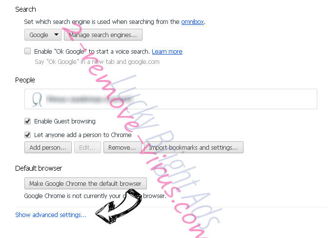 Easy Television Access Virus Chrome settings more