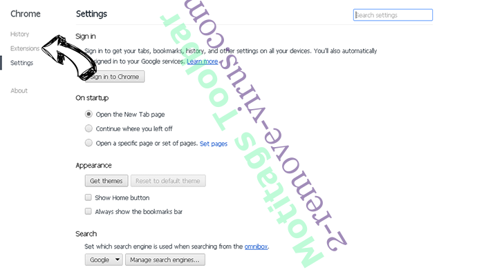 Motitags Toolbar Chrome settings