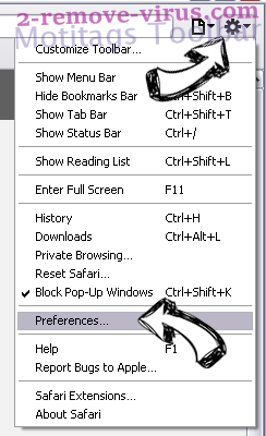 ChromoSearch.com Safari menu
