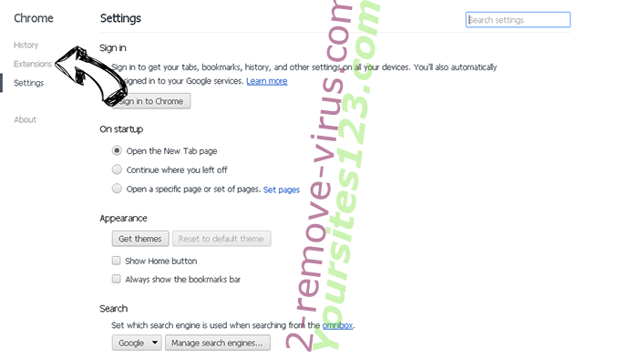 Yoursites123.com Chrome settings