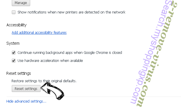Yoursearchresults.biz Chrome advanced menu