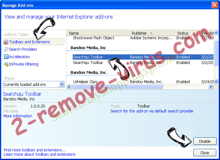 Search.whiteskyservices.com IE toolbars and extensions