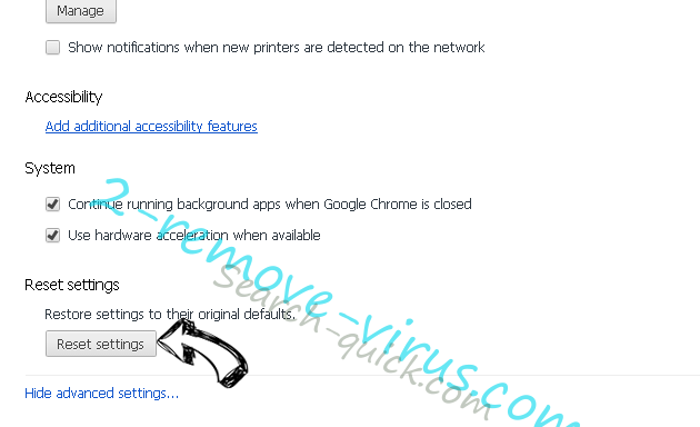 Rambler Search virus Chrome advanced menu