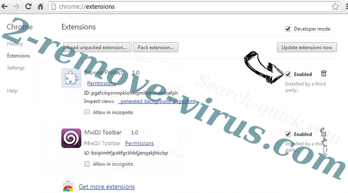 Rambler Search virus Chrome extensions disable