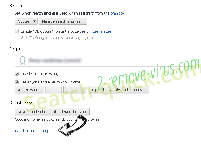 Rambler Search virus Chrome settings more