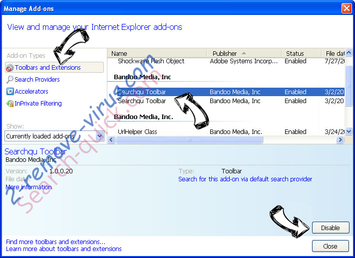 Rambler Search virus IE toolbars and extensions