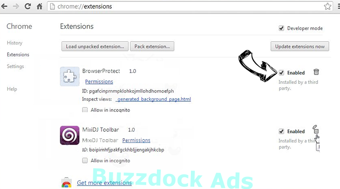 Buzzdock Ads Chrome extensions disable