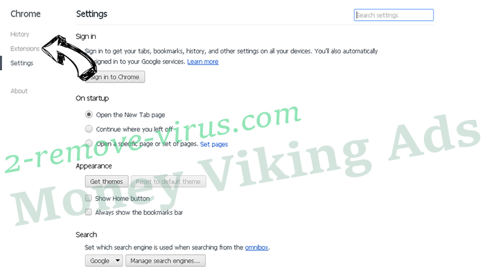 Money Viking Ads Chrome settings