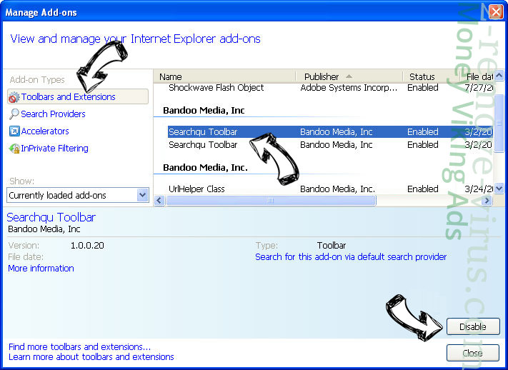 Search.myprivacyswitch.com IE toolbars and extensions