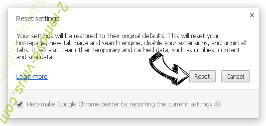 Search Recipes Adware Chrome reset