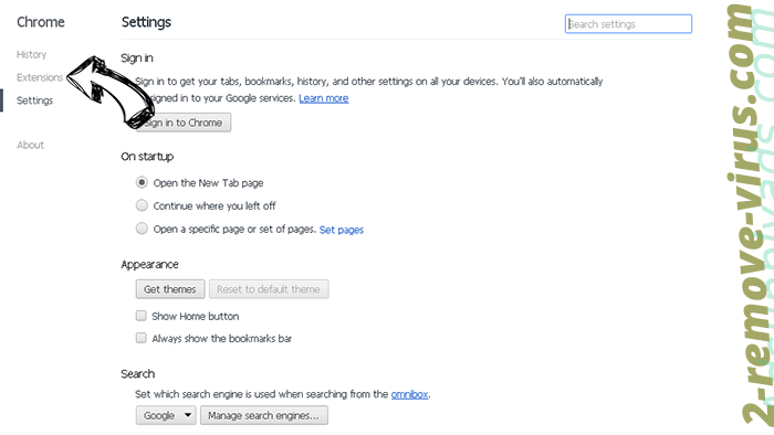 ChromeSearch.win Chrome settings
