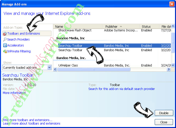 Search Encrypt IE toolbars and extensions