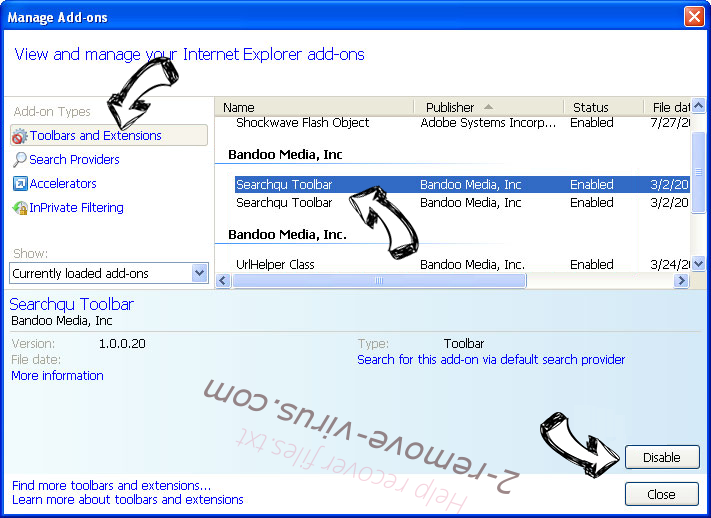 Supprimer Websearch.searchfix.info IE toolbars and extensions