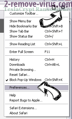 Adf.ly Virus Safari menu