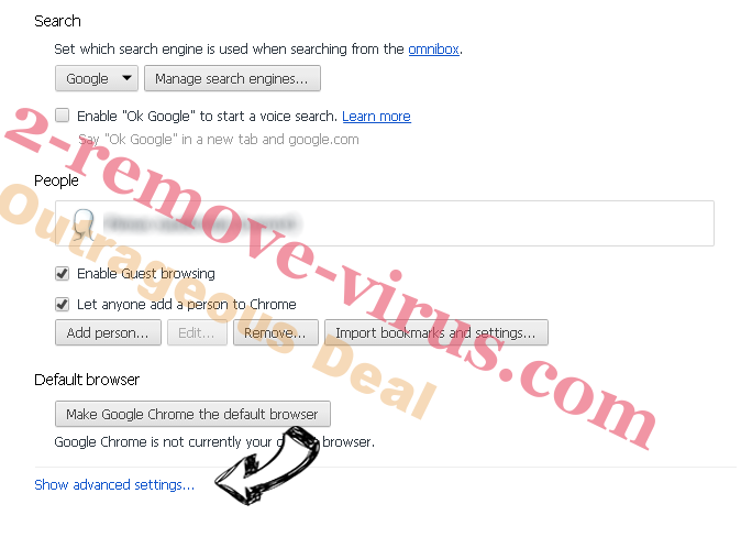 Yoursearching.com Chrome settings more