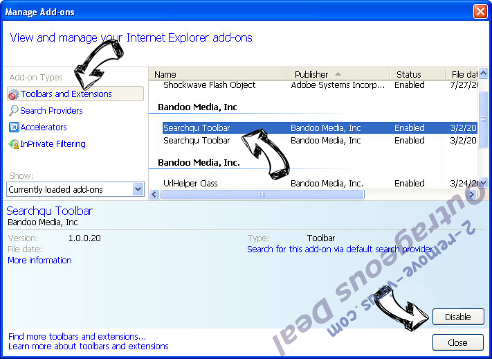 Yoursearching.com IE toolbars and extensions