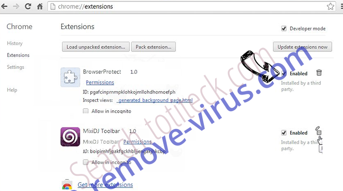 .ccc File Extension Virus Chrome extensions disable