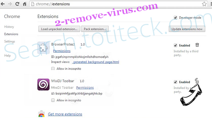 Search.totiteck.com Chrome extensions remove