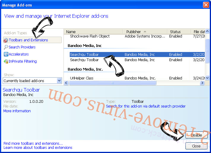 .ccc File Extension Virus IE toolbars and extensions