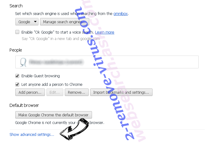 websearch.coolsearches.info Chrome settings more