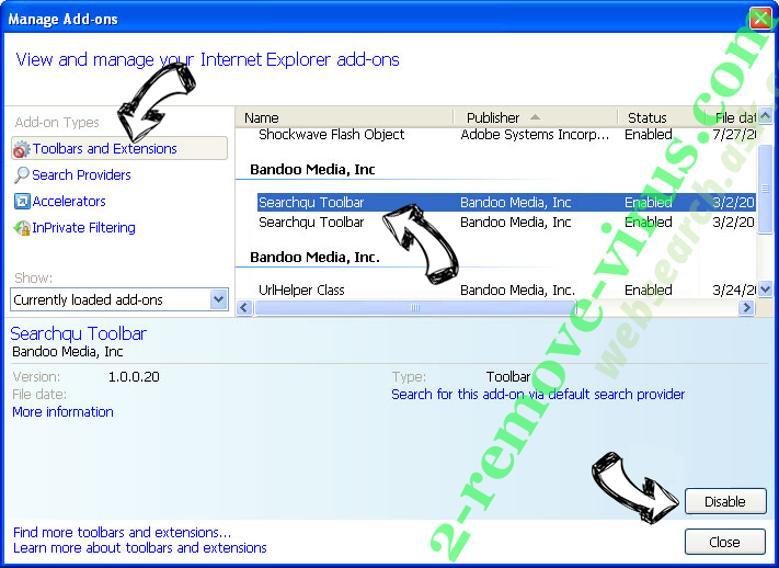websearch.ask.com IE toolbars and extensions