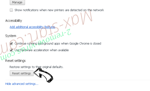 Search.adlux.com Chrome advanced menu