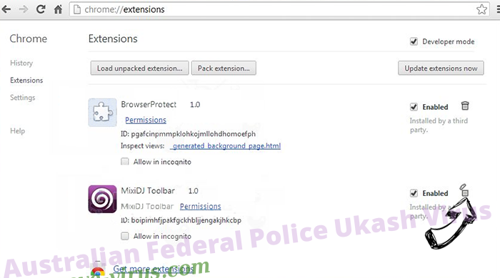 Australian Federal Police Ukash Virus Chrome extensions remove