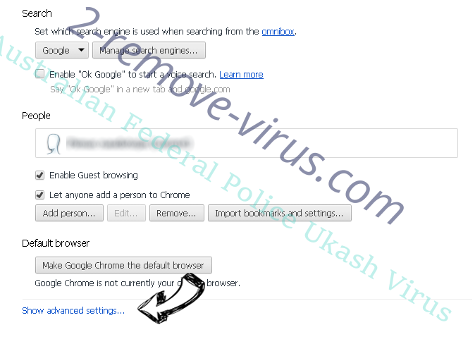 Australian Federal Police Ukash Virus Chrome settings more