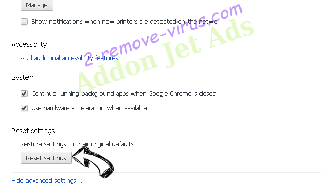 Addon Jet Ads Chrome advanced menu