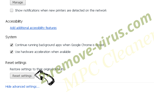 PC Clean Plus Chrome advanced menu
