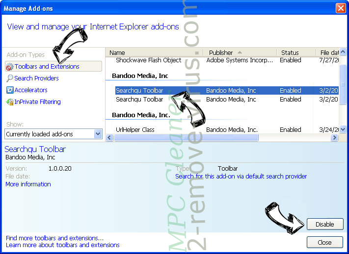 MPC Cleaner IE toolbars and extensions