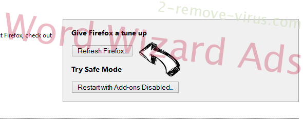 Word Wizard Ads Firefox reset
