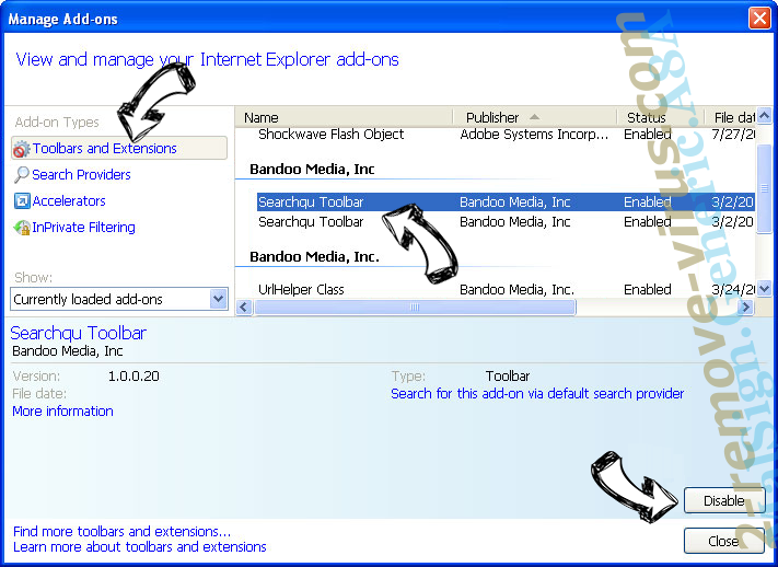 Search.queryrouter.com IE toolbars and extensions