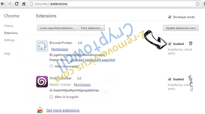 .vvv File Extension Virus Chrome extensions disable