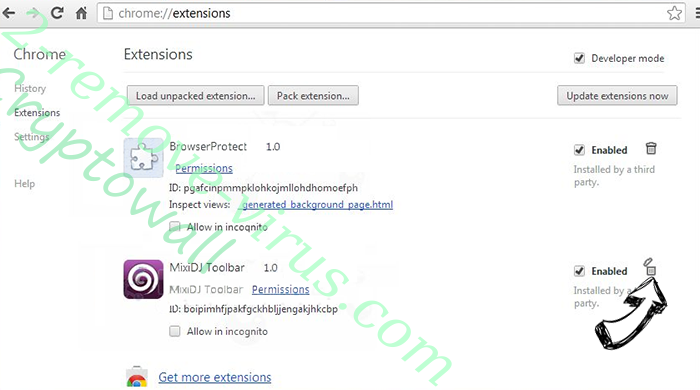 .vvv File Extension Virus Chrome extensions remove