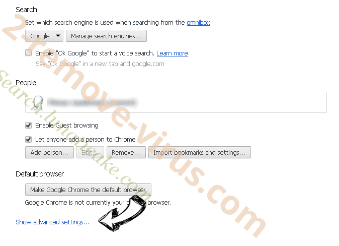 Startsearch.info Chrome settings more