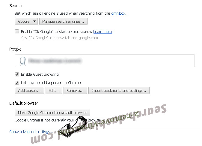 Daemon-search.com Chrome settings more