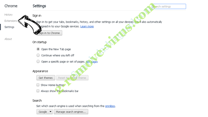 Newsearch123.com Chrome settings