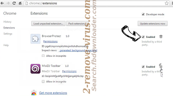 Search.fbdownloader.com - ¿cómo eliminar? Chrome extensions disable