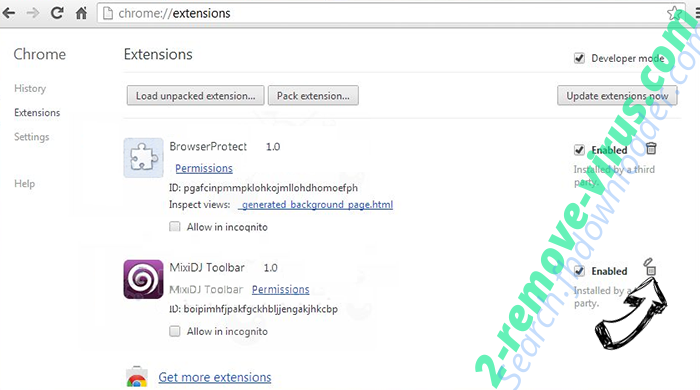 Masksearch.com Chrome extensions remove