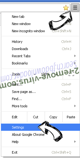 Search.searchpcst.com Chrome menu