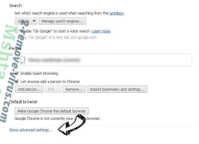 Search.gingerbroom.com Chrome settings more
